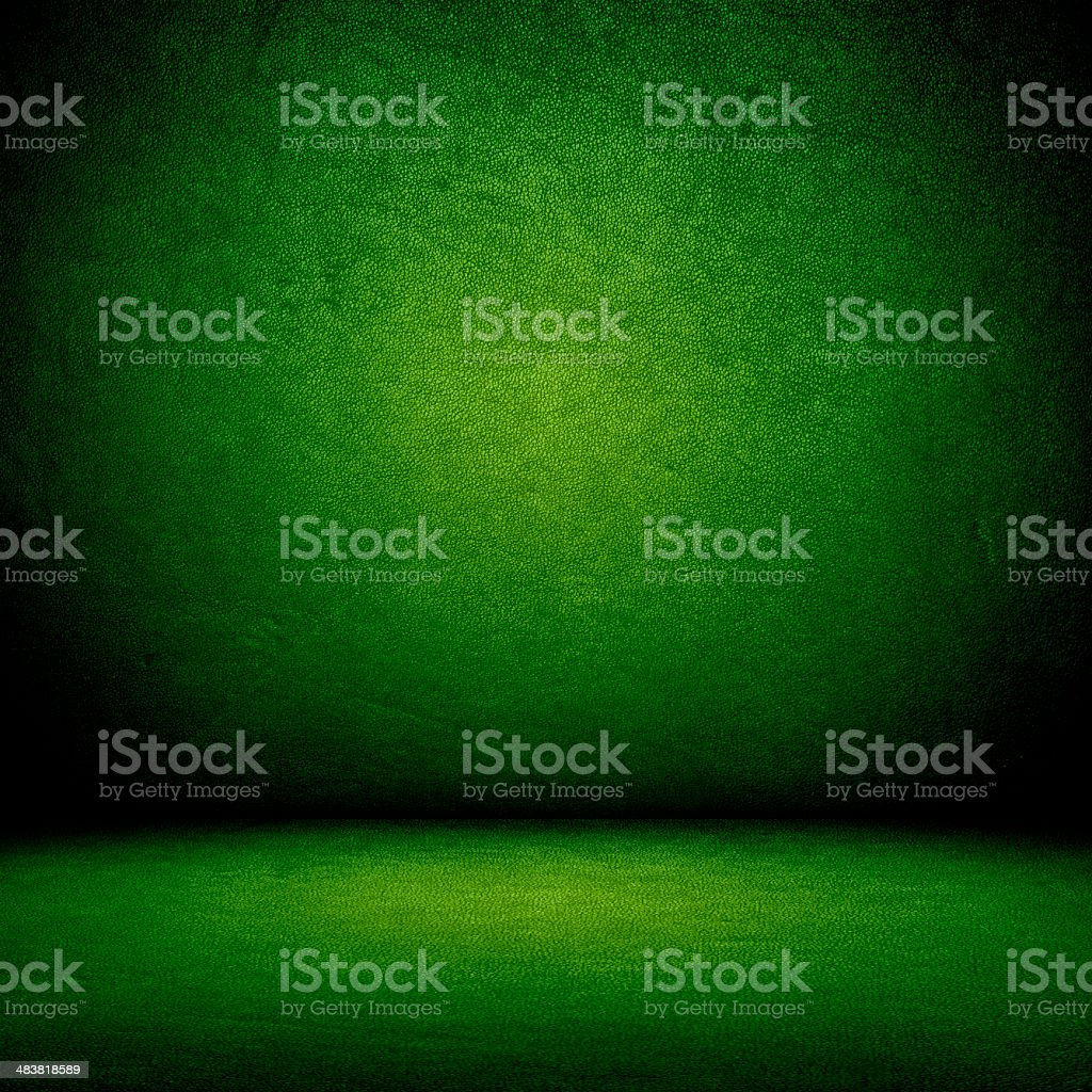 Green wall and floor interior stock photo