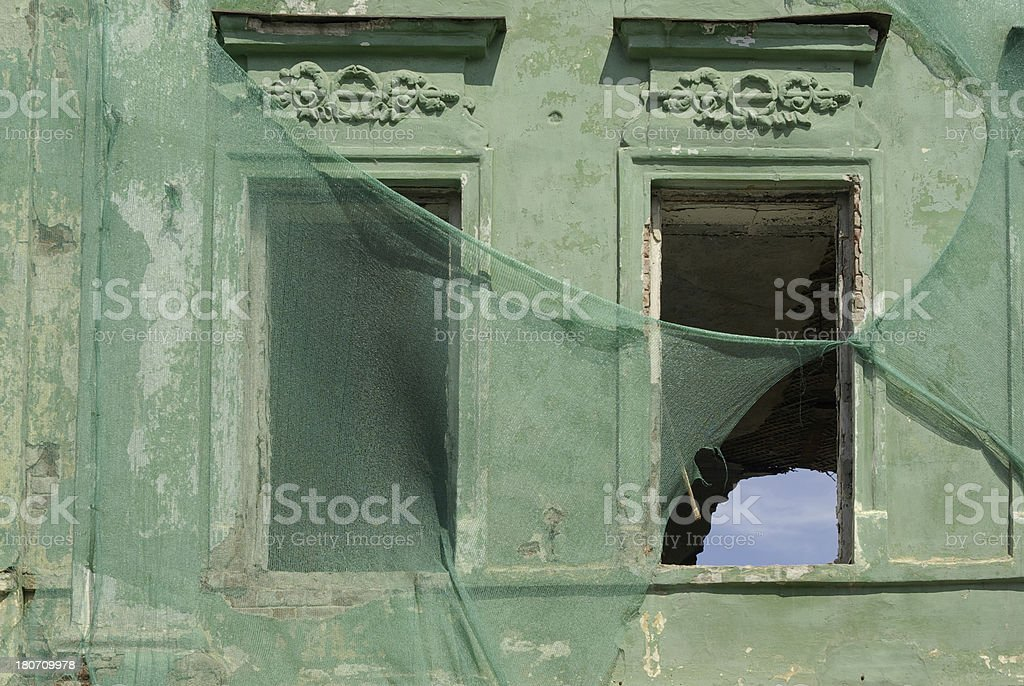 Green wall window old royalty-free stock photo
