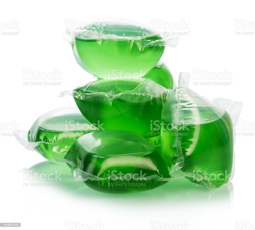Green water bags for ice stock photo