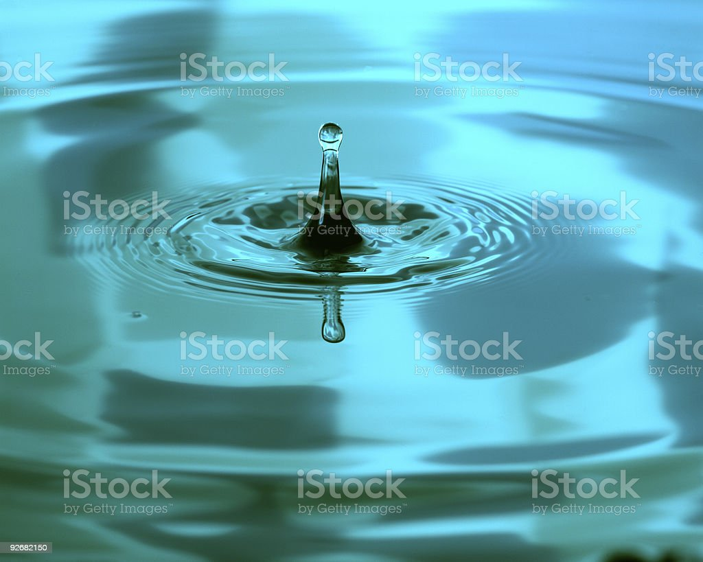 Green water drip and ripples royalty-free stock photo