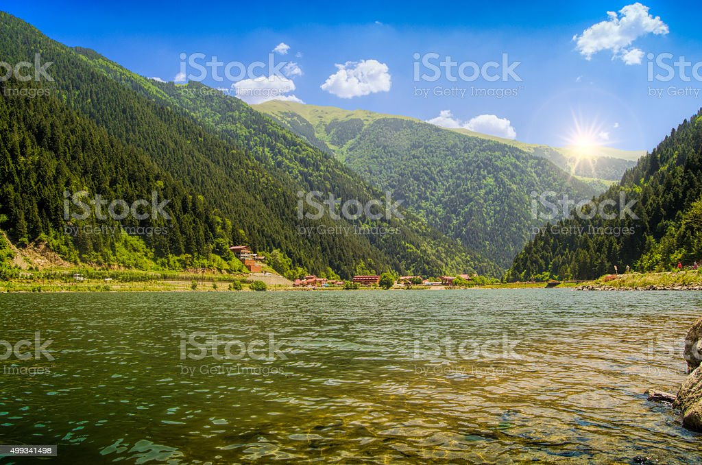 green water lake in forest,long lake,Trabzon,Turkey stock photo