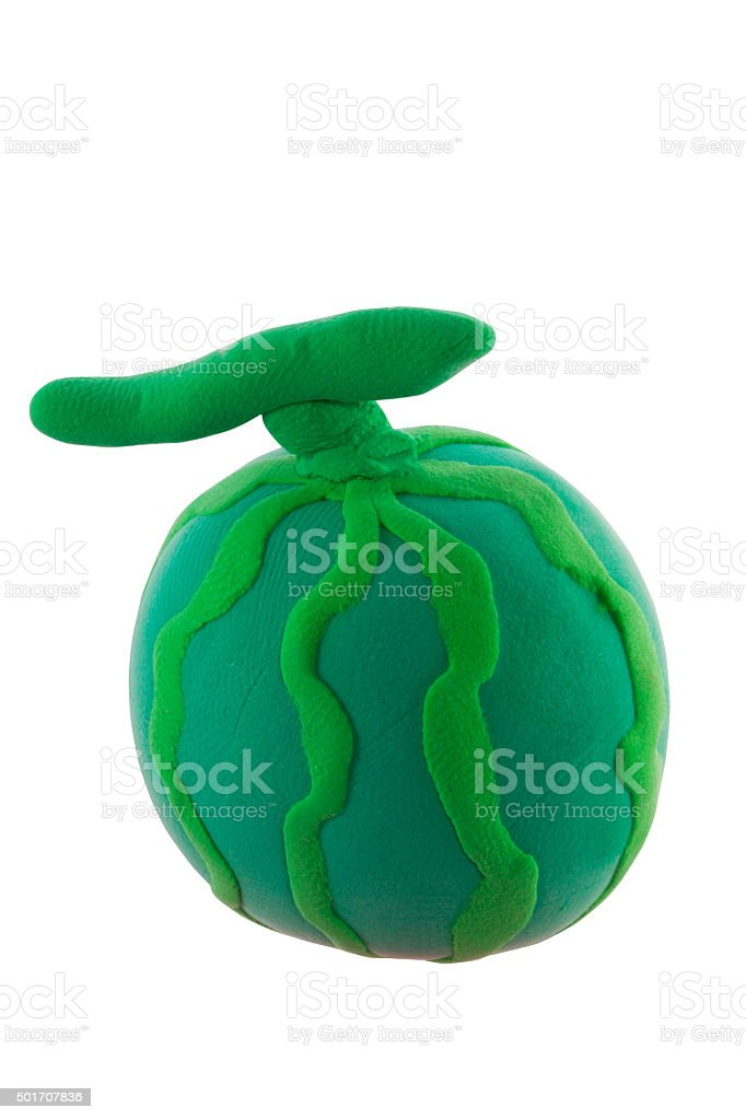 Green Water melon made from plasticine stock photo