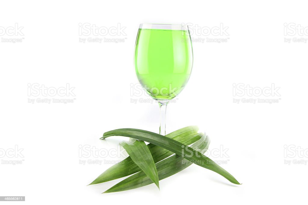 Green Water Pandan and in a glass. royalty-free stock photo