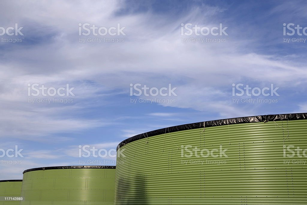 green water storage tanks for agricultural use royalty-free stock photo