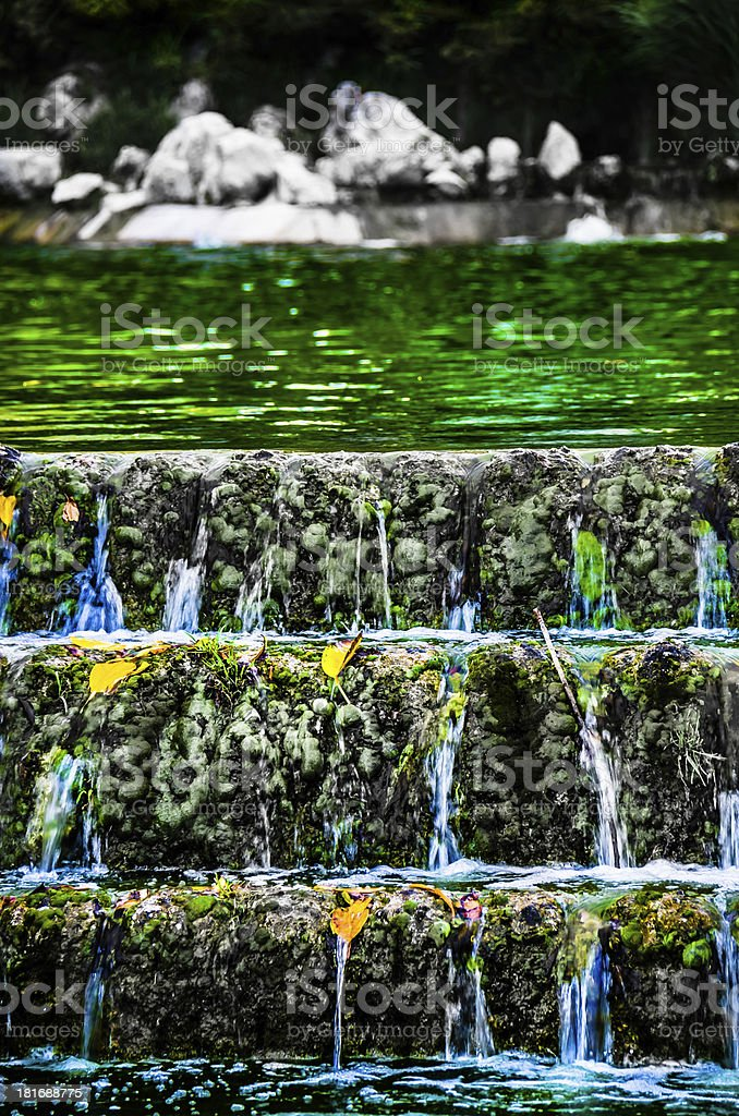 Green water waterfall royalty-free stock photo