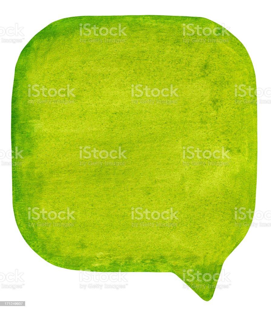 green watercolour speech bubble stock photo