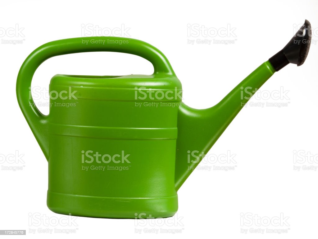 A green watering can on a white background stock photo