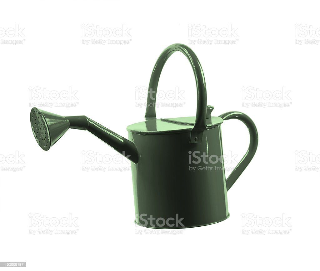 Green Watering Can with Clipping Path royalty-free stock photo