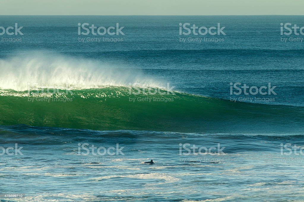 Green Wave Ocean Beach San Francisco stock photo