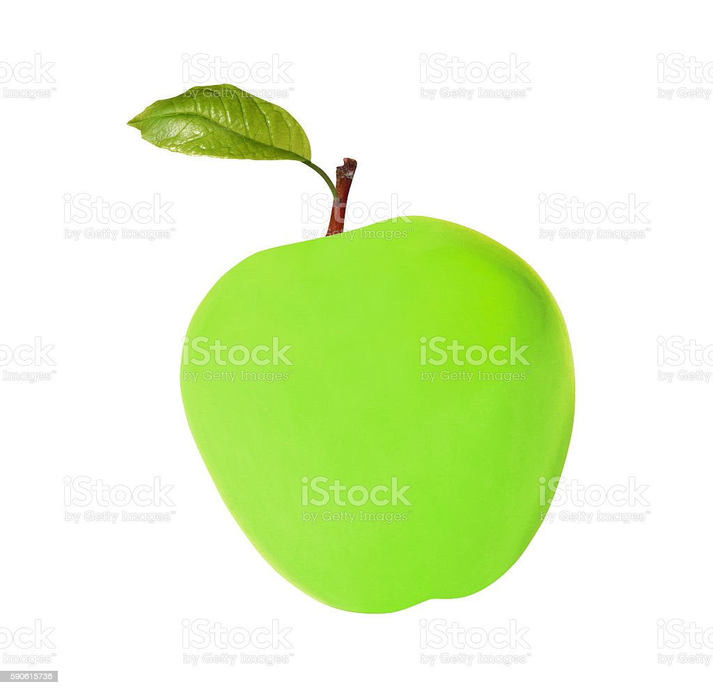 green wax apple isolated on white stock photo