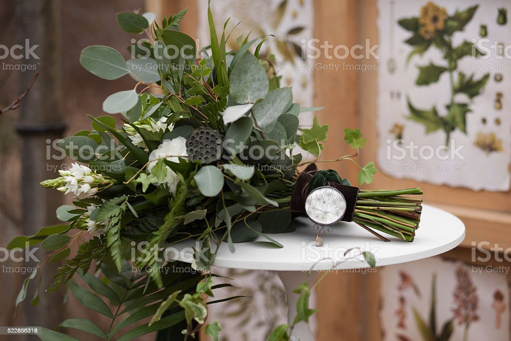 Green wedding bouquet stock photo