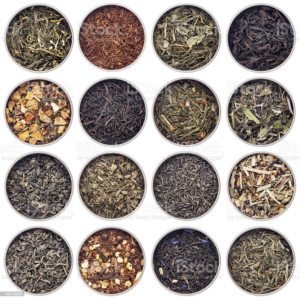 green, white, black and herbal tea royalty-free stock photo