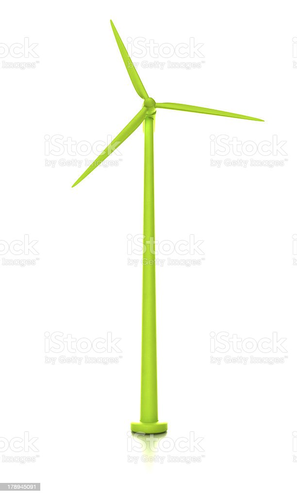 Green wind turbine isolated on white stock photo