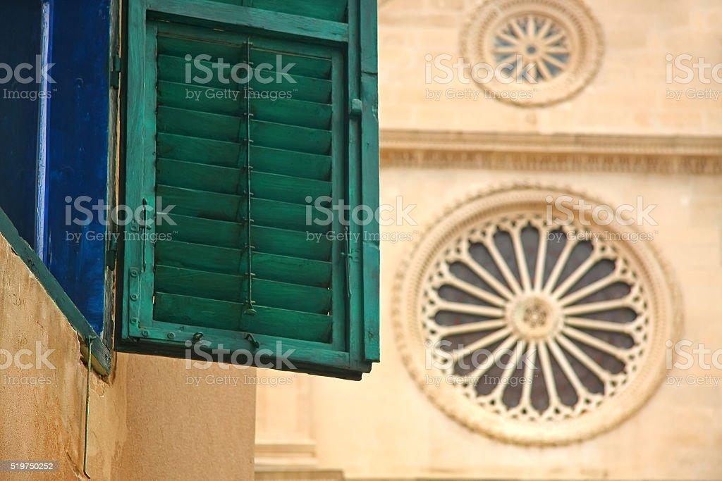 Green window in Sibenik, Croatia stock photo