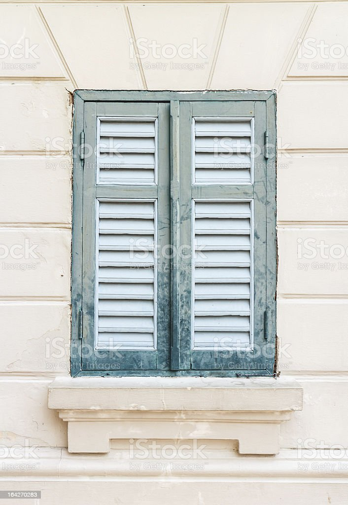 green window on the wall royalty-free stock photo