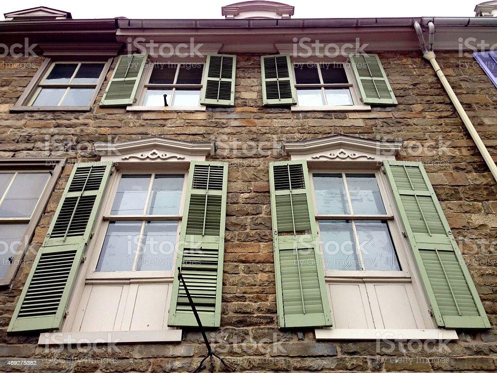 Green Window Shutters stock photo