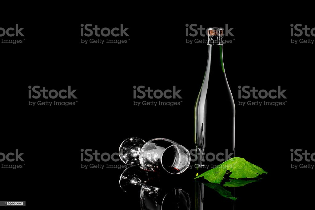 Green Wine Bottle and Wine Glass royalty-free stock photo