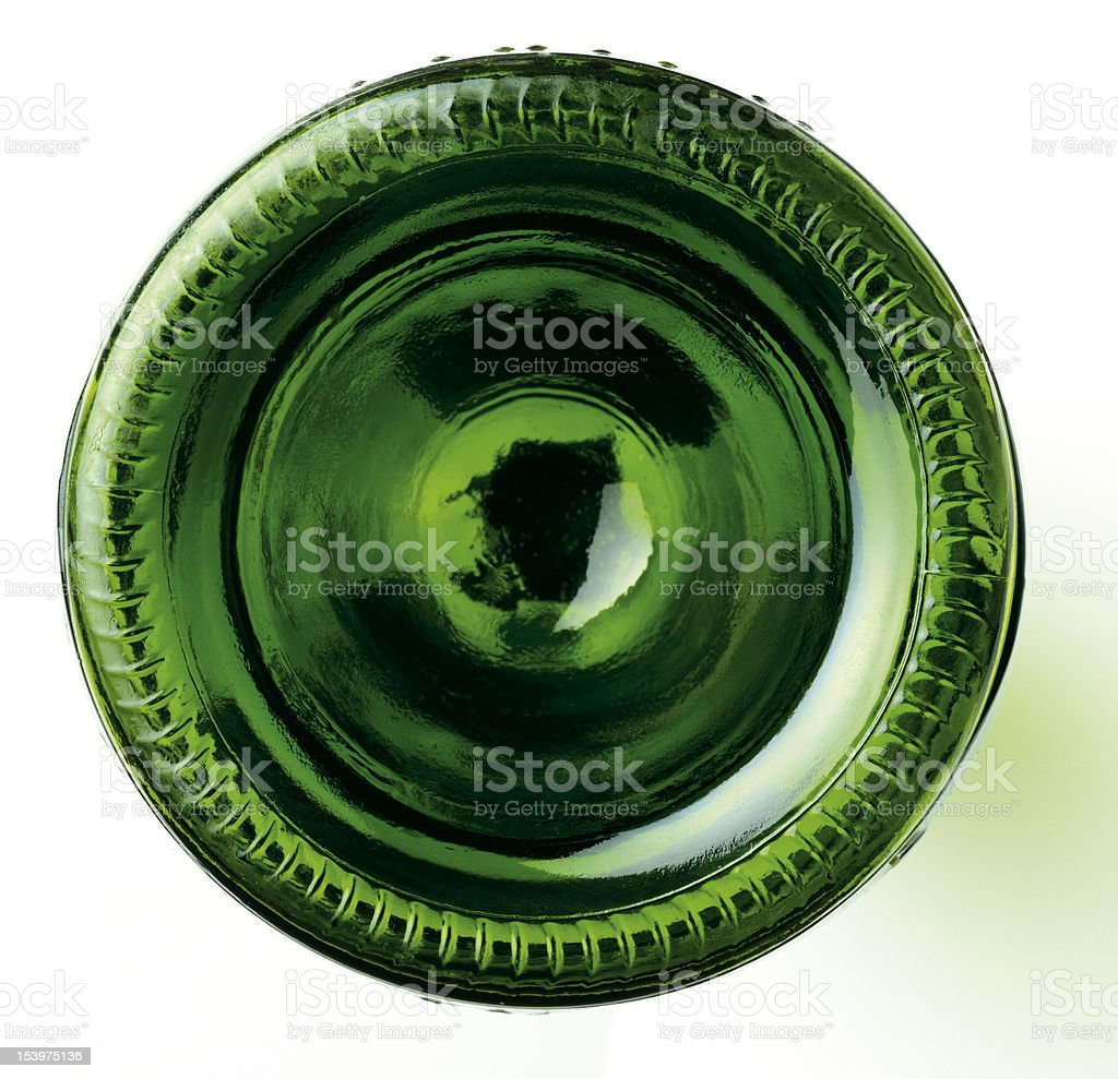 Green wine bottle base stock photo