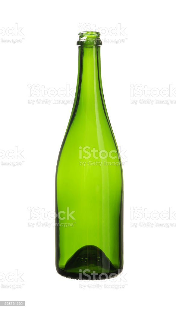 Green Wine Bottle isolated white background clipping paths stock photo