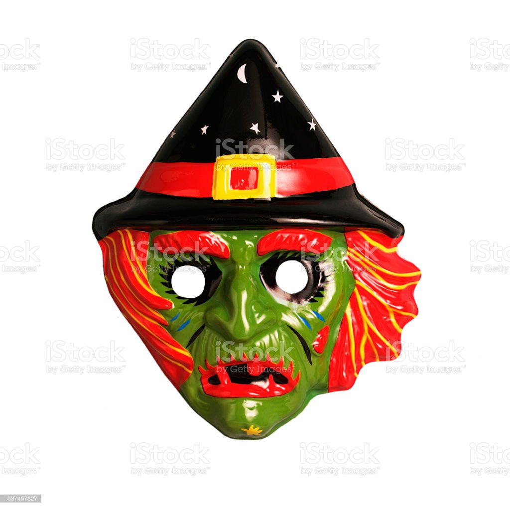 Green Witch Mask stock photo