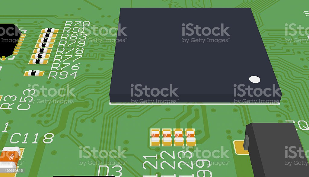 PCB green with elements royalty-free stock photo