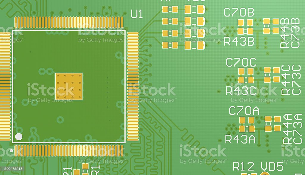 PCB green without elements royalty-free stock photo