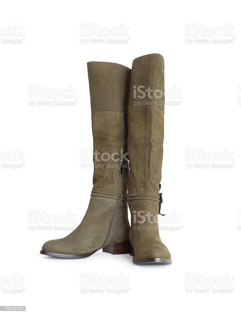 Green Womans High Boots royalty-free stock photo