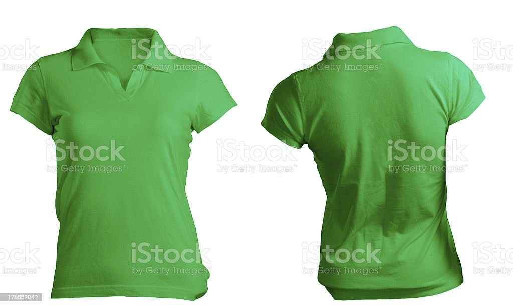 green women's polo shirt stock photo
