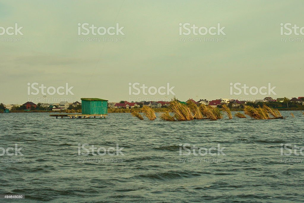 Green wooden house stands in the middle of lake near royalty-free stock photo