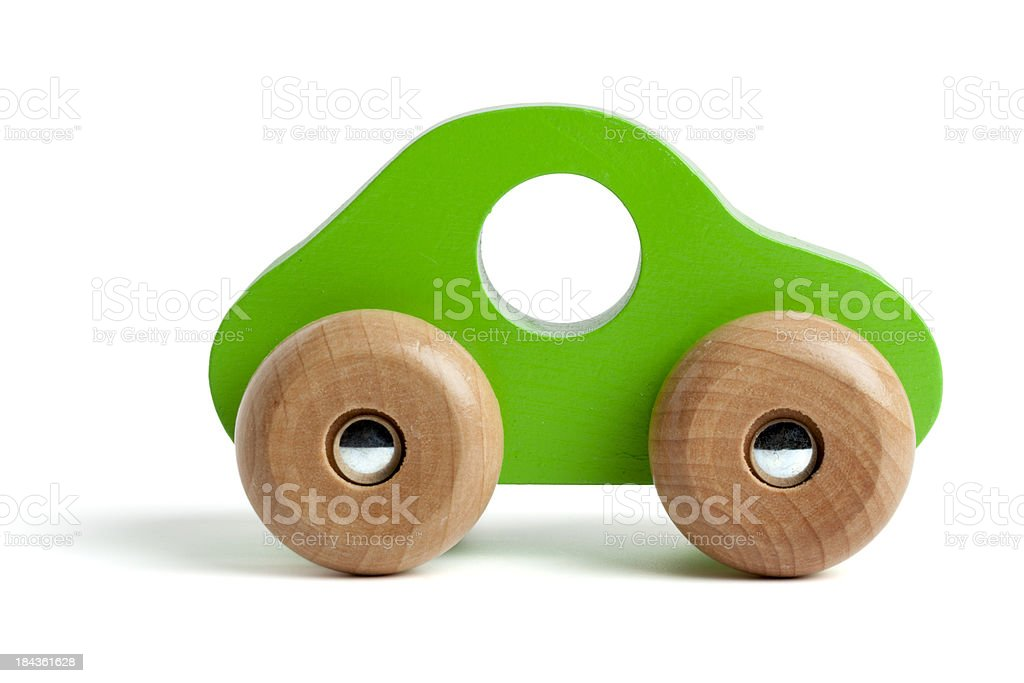 Green wooden toy car stock photo