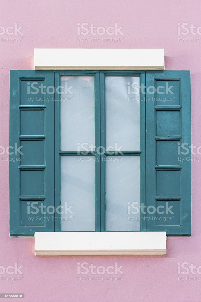 green wooden window royalty-free stock photo