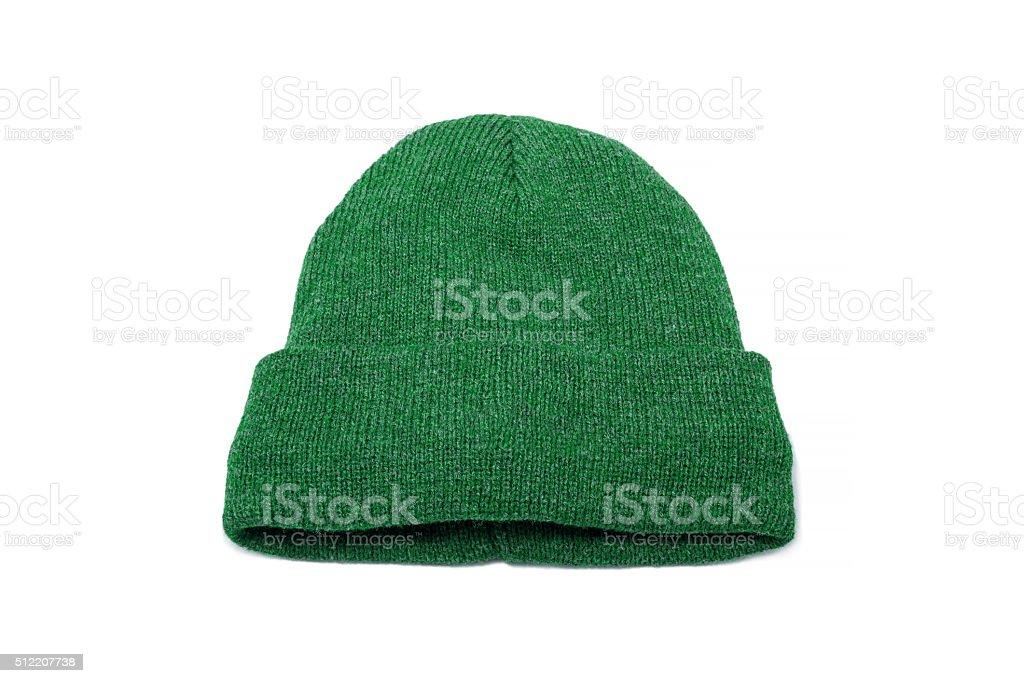 Green wool cap stock photo