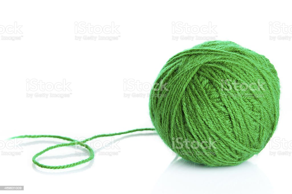 Green wool yarn ball isolated on white  background royalty-free stock photo