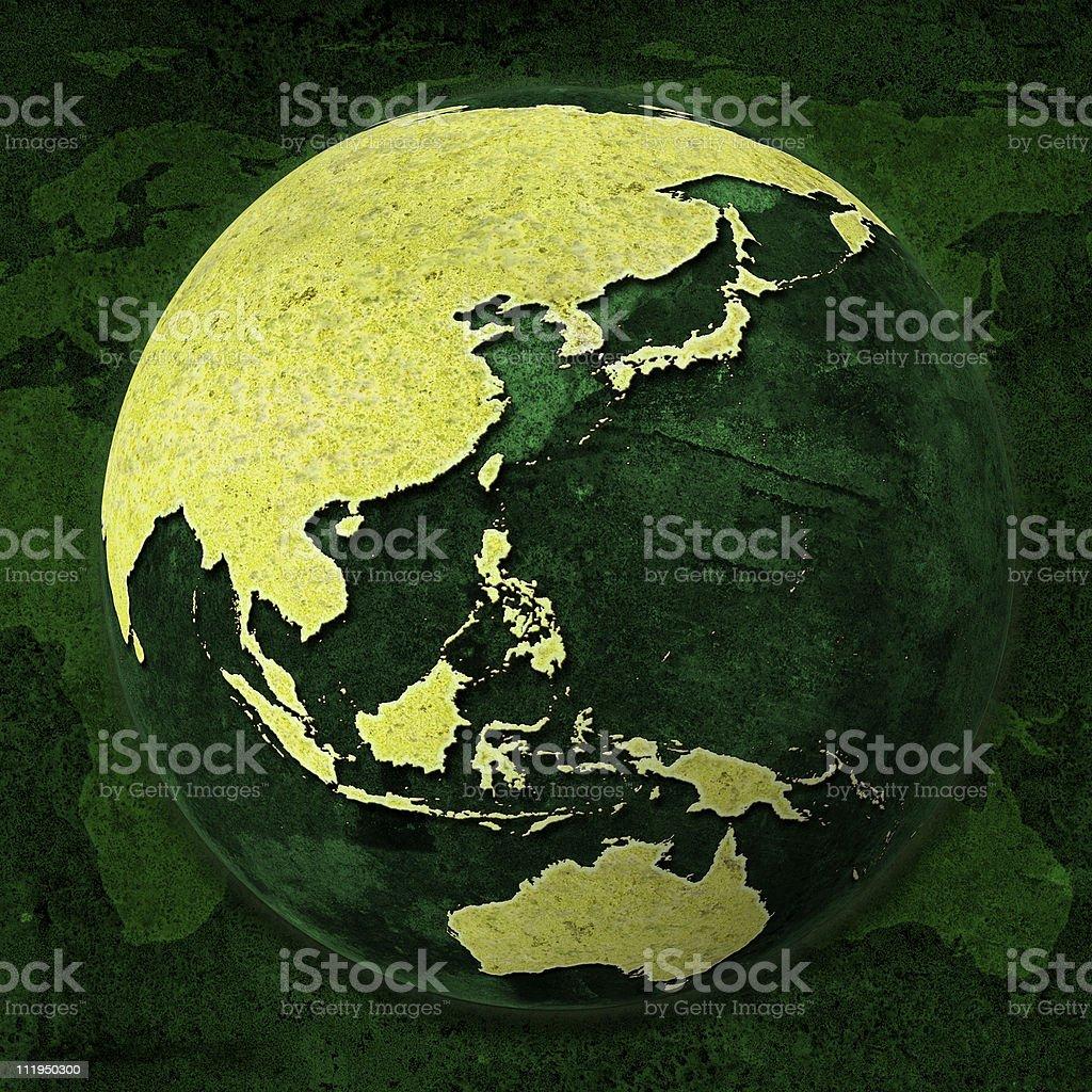 Green World Globe, Asia and Australia royalty-free stock photo