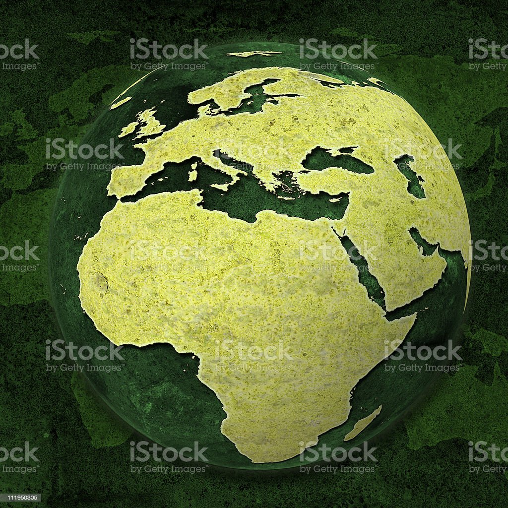 Green World Globe, Europe and Africa royalty-free stock photo