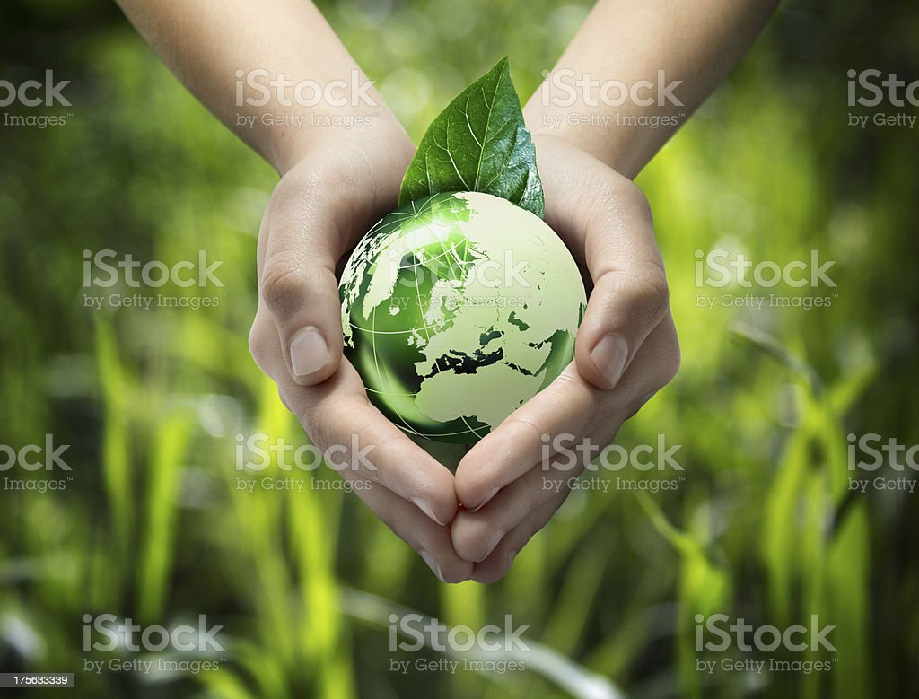 green world in the heart hand stock photo