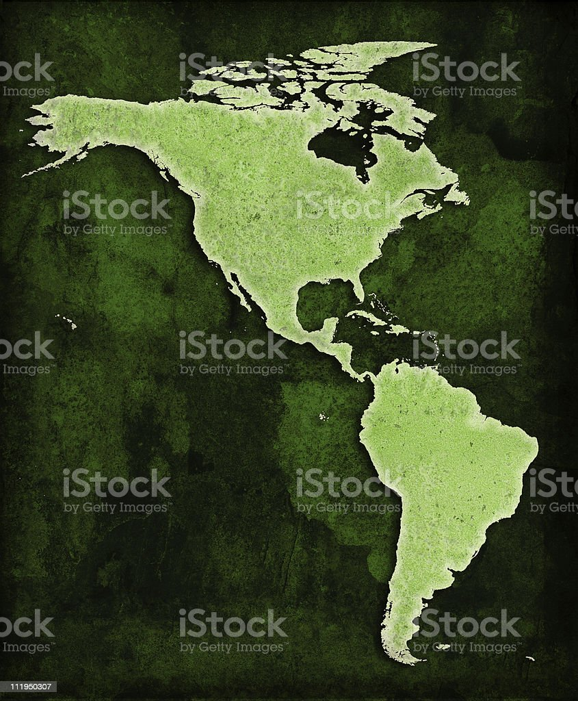 Green World The Americas map stock photo