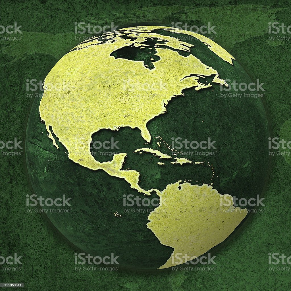 Green World USA globe on greeny map background royalty-free stock photo