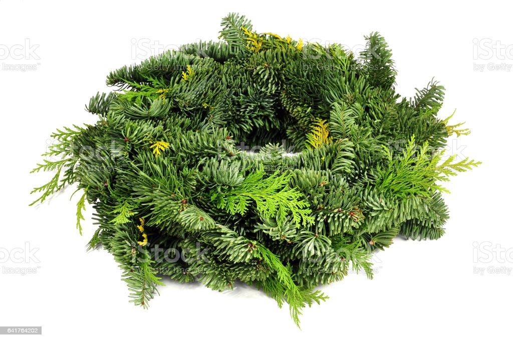 green wreath isolated stock photo