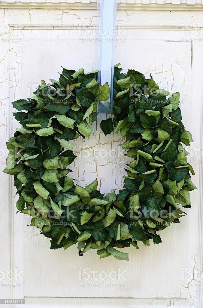 Green wreath on door royalty-free stock photo