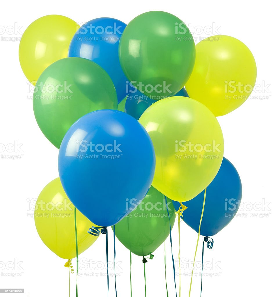 Green and blue balloons - Green Yellow And Blue Balloons Royalty Free Stock Photo