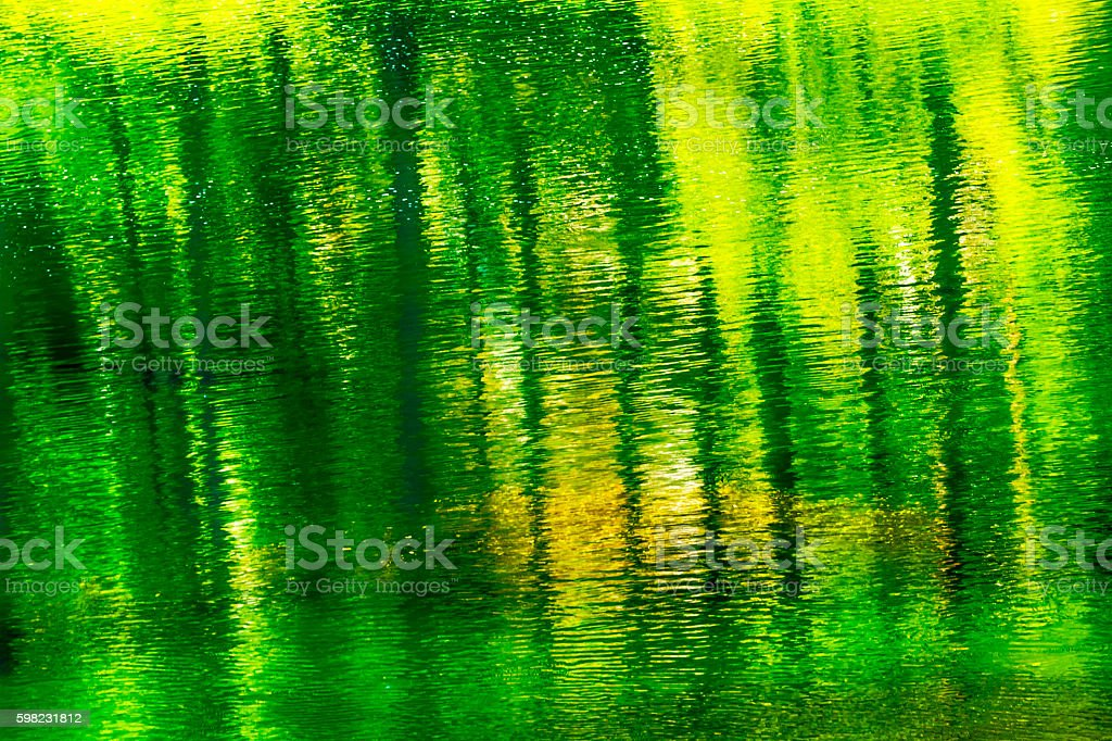 Green Yellow Summer Water Reflection Abstract Wenatchee River Washington stock photo