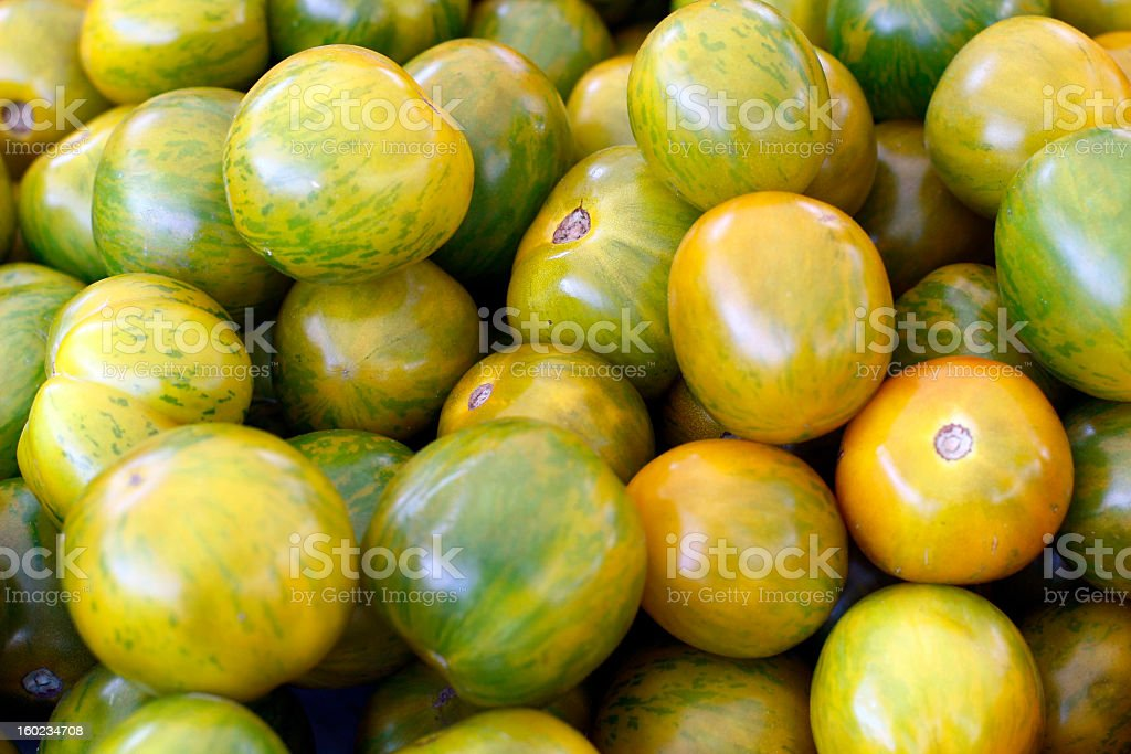 Green Zebra Heirloom Tomatoes Close-up royalty-free stock photo