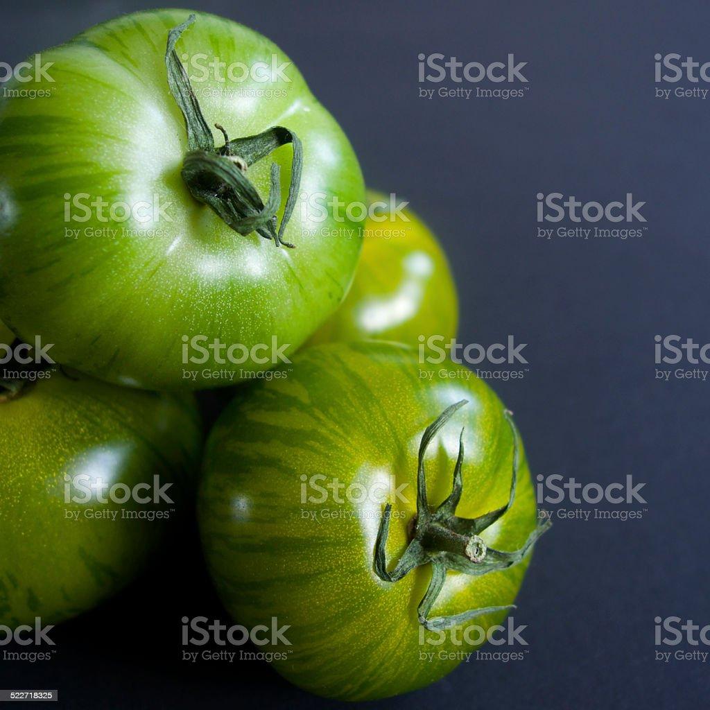 Green zebra tomatoes stock photo
