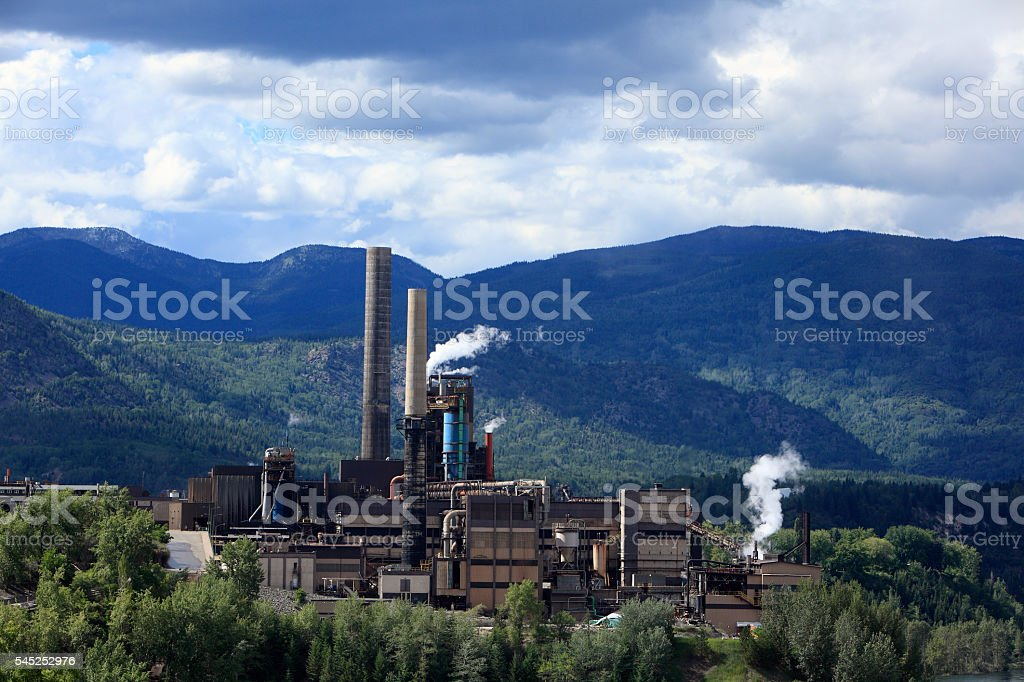 Green Zinc And Lead Smelting Plant Trail British Columbia stock photo