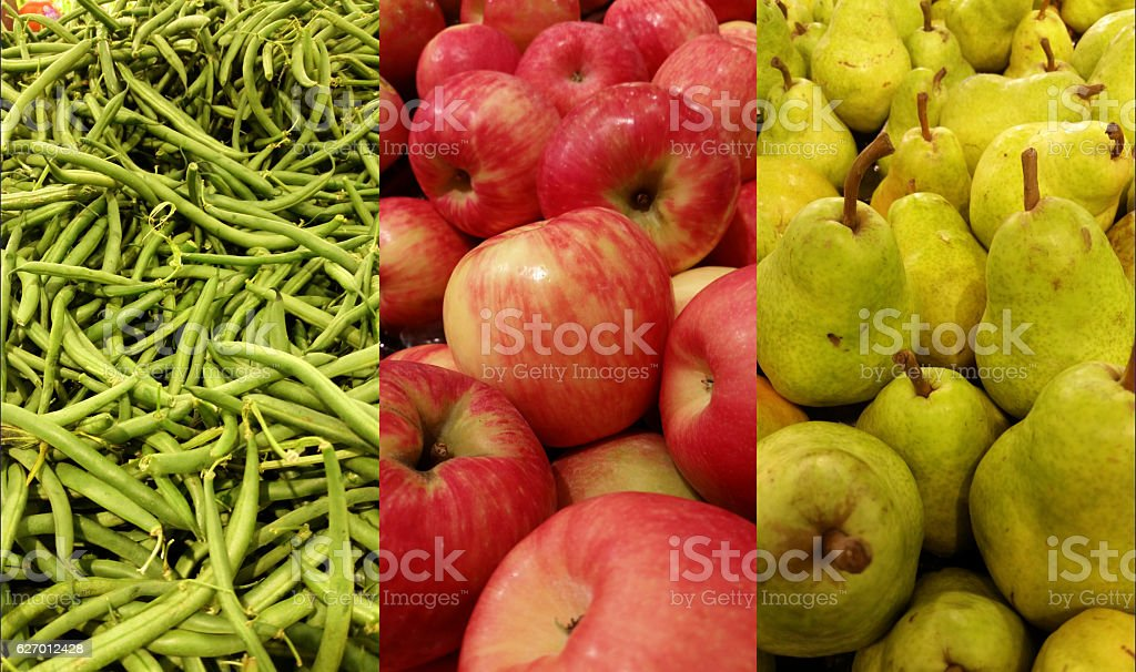 Greenbeans, apples, pears stock photo