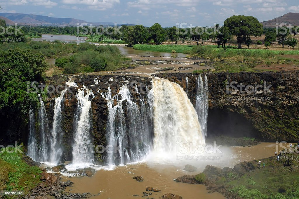 Greenery landscape of Blue Nile Falls flowing royalty-free stock photo