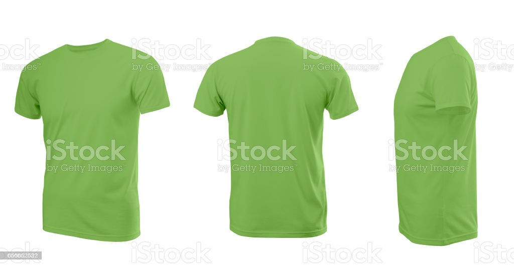 Greenery (color 2017) man's T-shirt with short sleeves with rear and side view on a white background stock photo