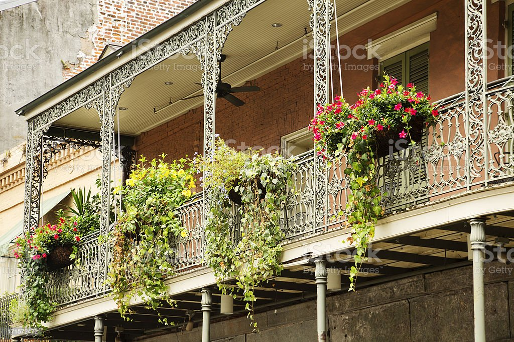 Greenery on the balcony in French Quarter, New Orleans, Louisiana stock photo