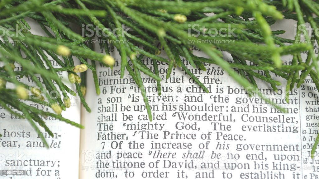 Greenery with Christmas scripture, Isaiah 9 stock photo